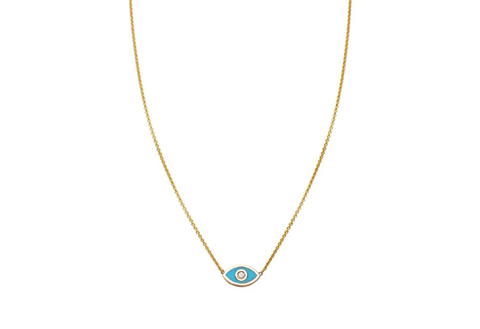 turquoise and diamond evil eye gold necklace