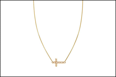 Image of White Diamond Sideways Cross Necklace