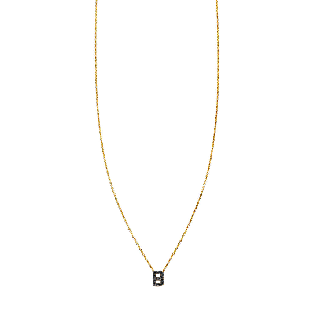Black Diamond Initial Necklace