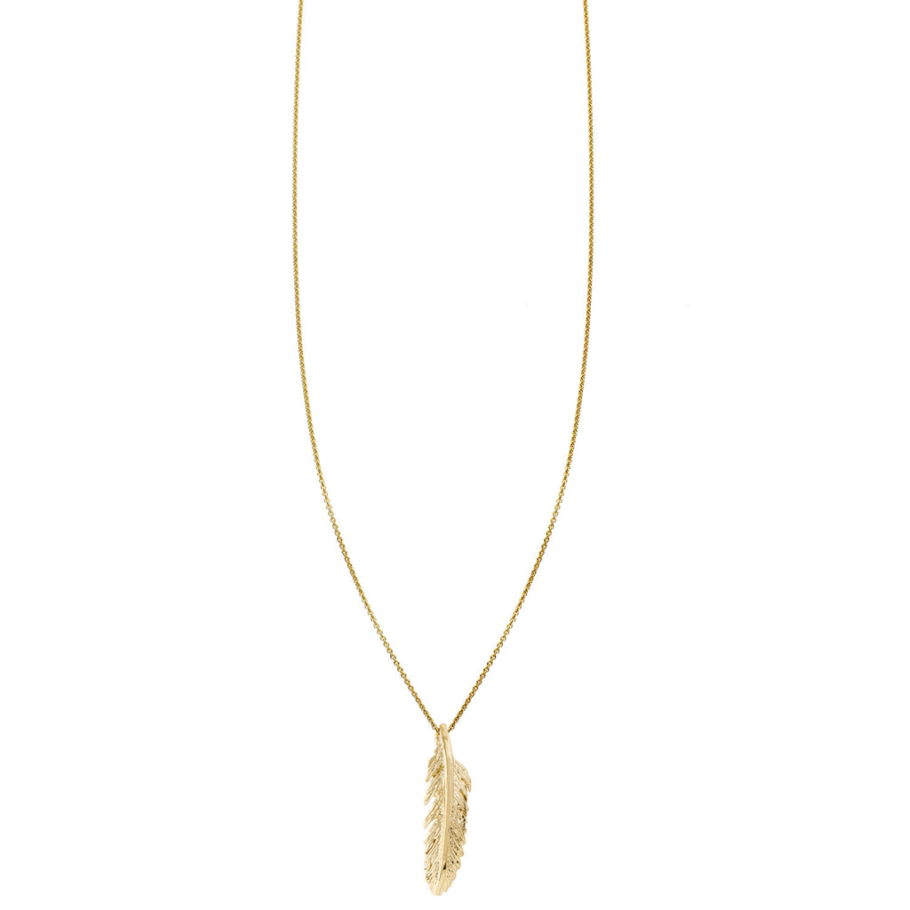 Large gold detailed feather charm pendant necklace