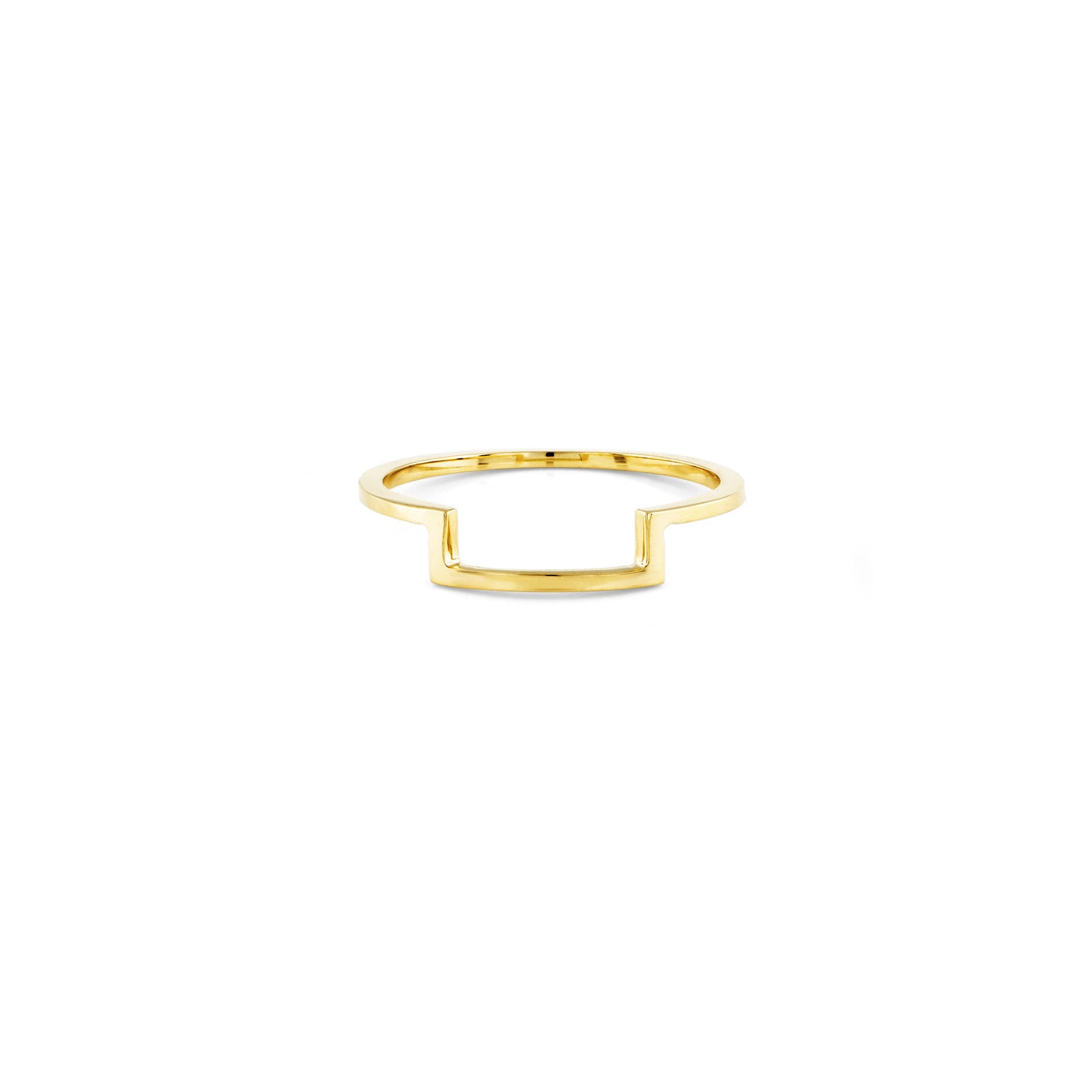 Gold Outline Half Square Ring