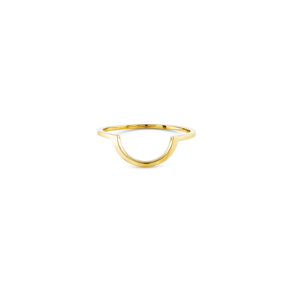 Gold Outline Half Circle Ring - Phoenix Roze