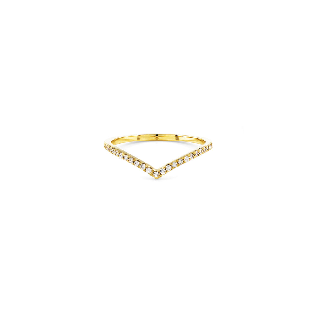 Gold Pave Outline Curved V Ring - Phoenix Roze