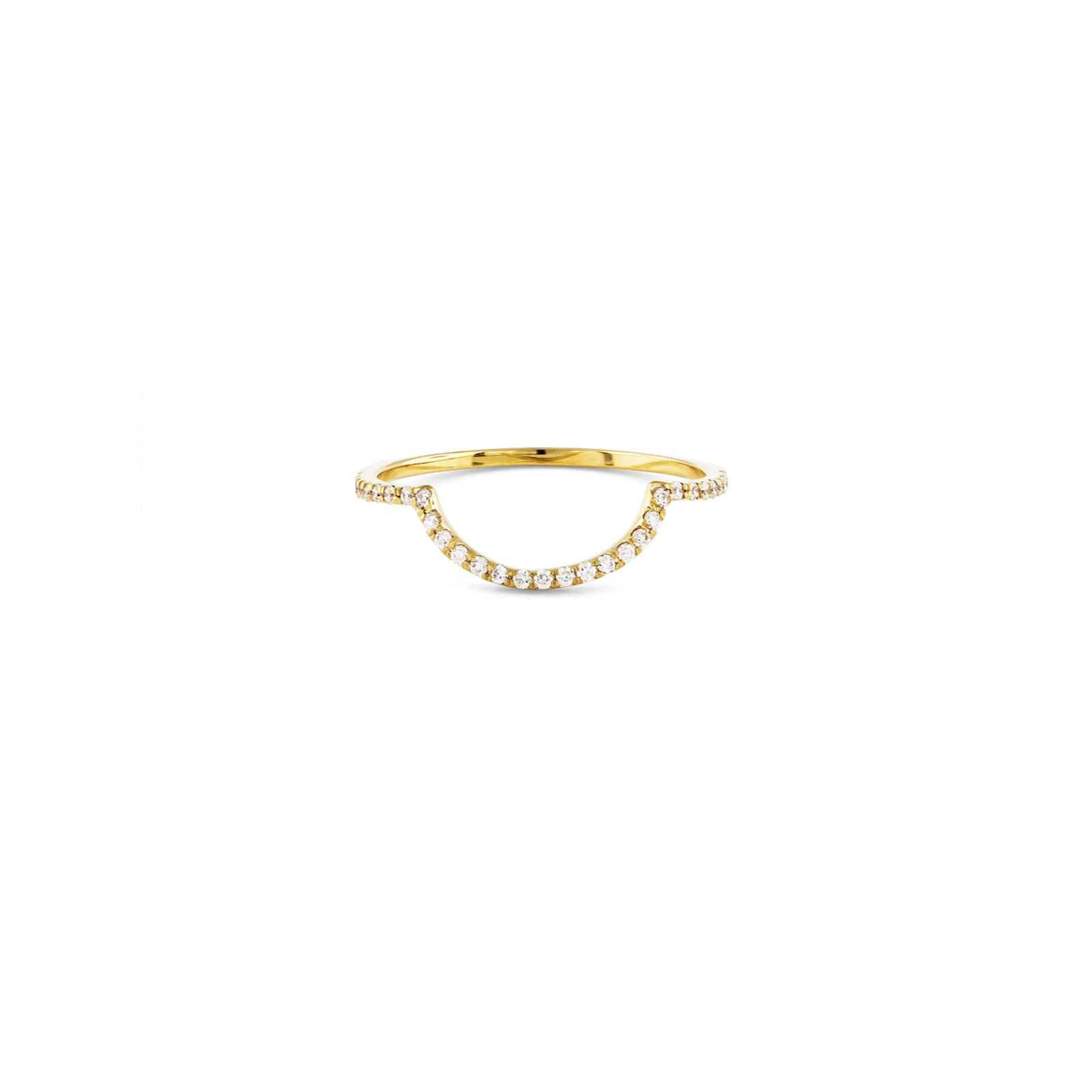 Gold Pave Outline Half Circle Ring