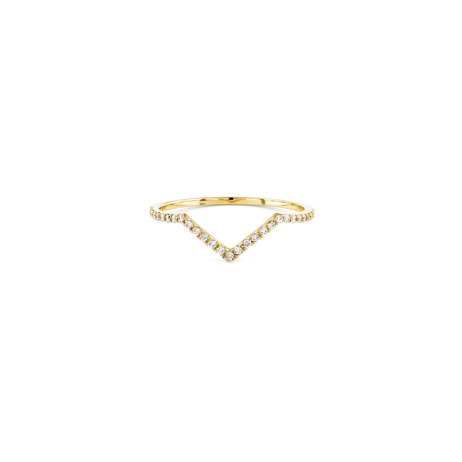 Gold Pave Outline Small V Ring