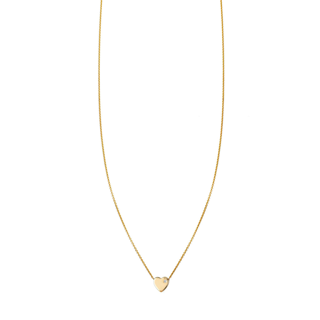 1Pt. Diamond Flat Heart Gold Necklace