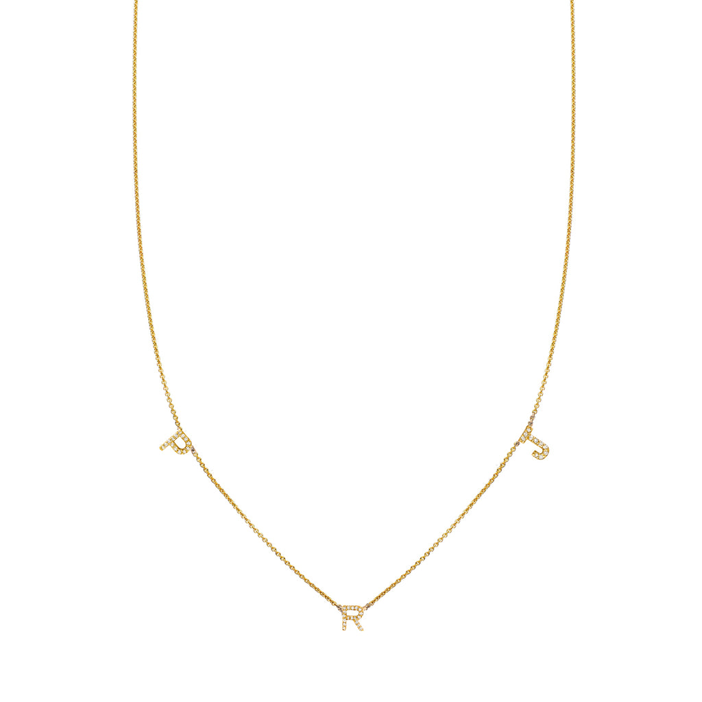 3 Letter Gold and Diamond Initial Necklace