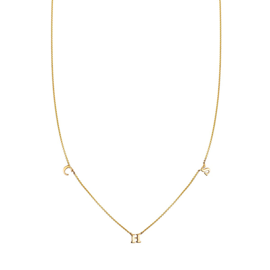 Image of a 3 Letter Gold Initial Necklace