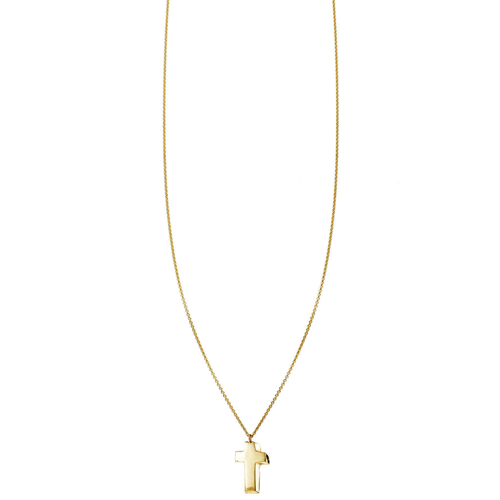 Image of a 3D Cross Gold Necklace