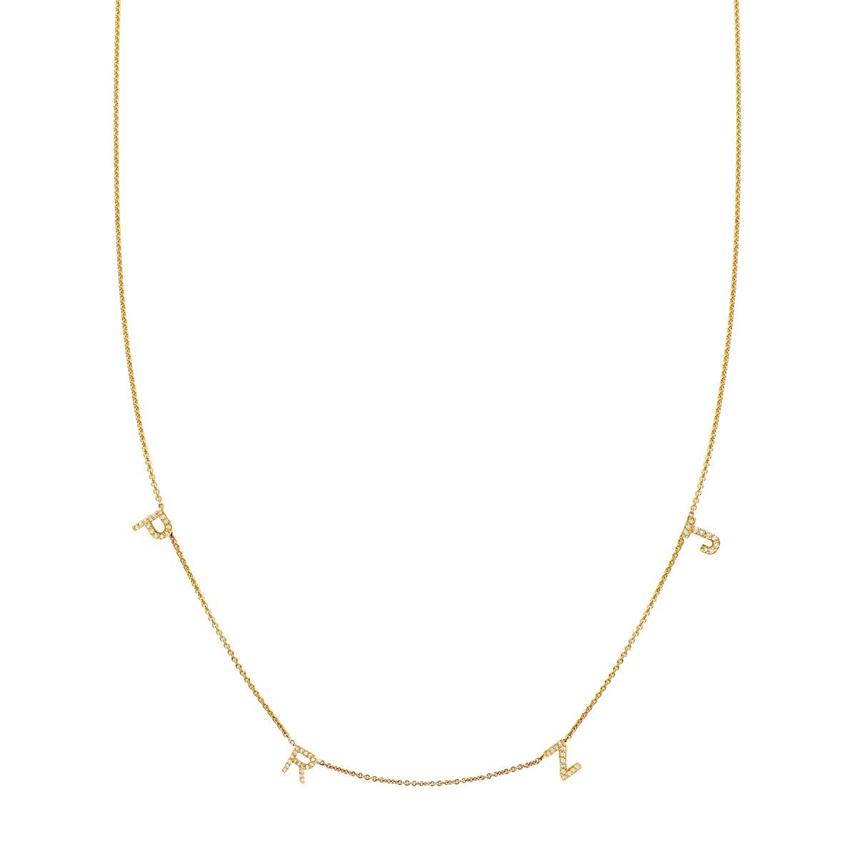 4 Letter Gold and Diamond Initial Necklace