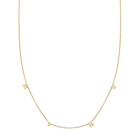Image of a 4 Letter Gold Initial Necklace