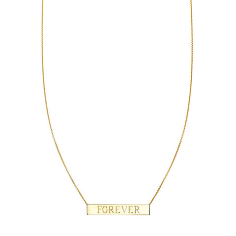 Gold Personalized Nameplate Bar Necklace