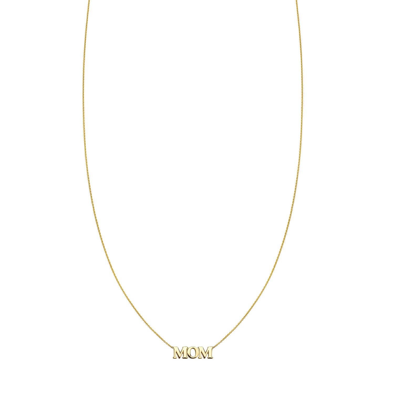Mom spelling word necklace in gold