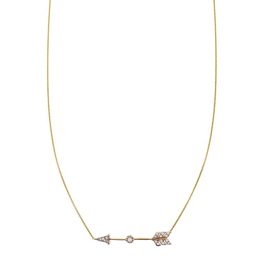 Pave' diamond charm arrow necklace