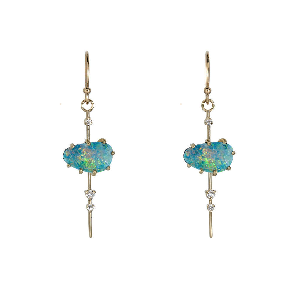 Image of Boulder Opal & Diamond Pendulum Earrings
