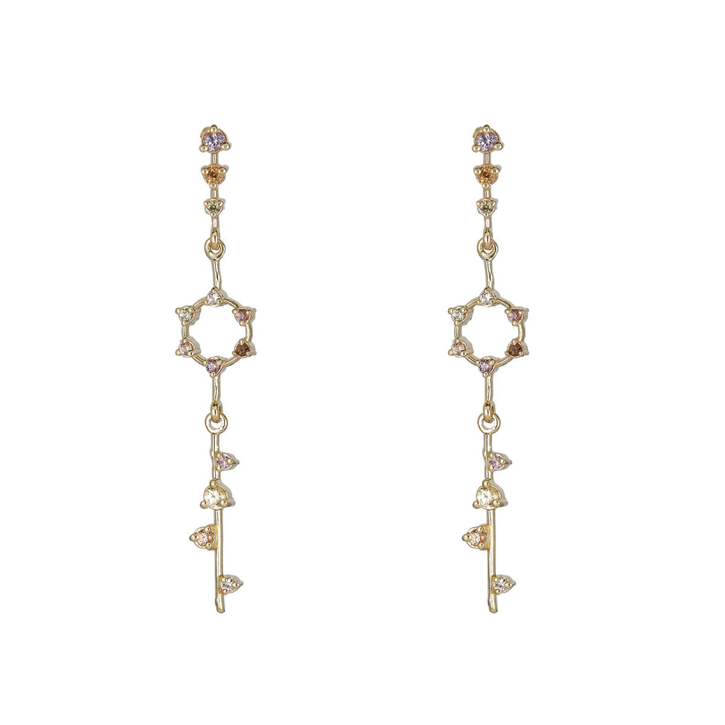 Image of Multicolor Sapphire Star Pendulum Earrings