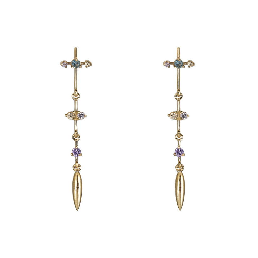 Image of Multicolor Sapphire Pendulum Earrings