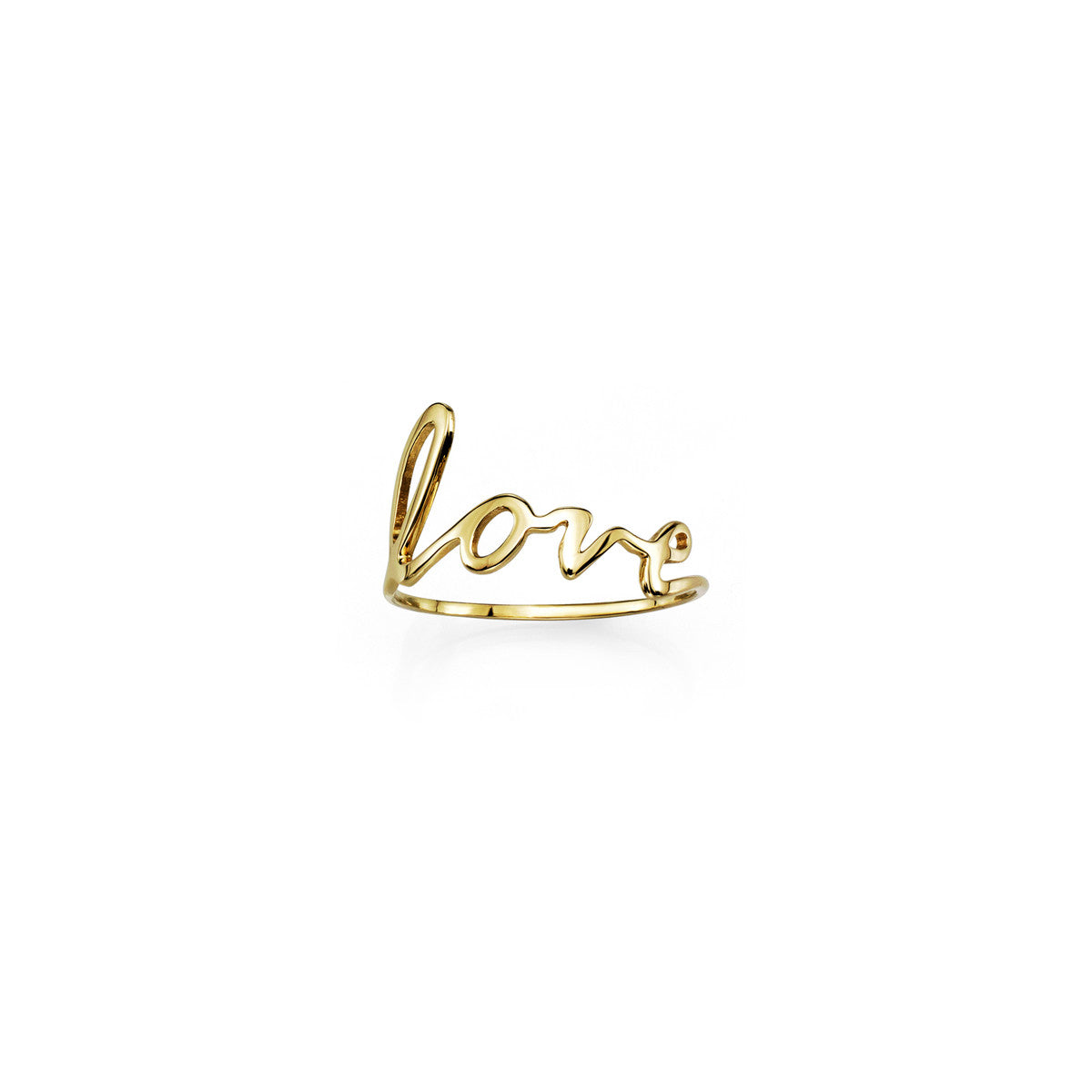 Gold cursive love word ring for women