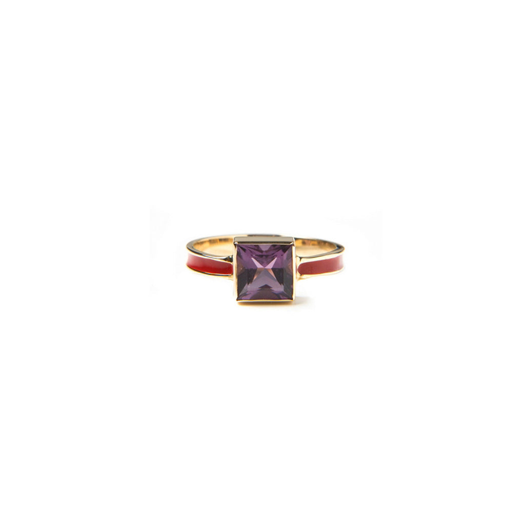 Amethyst and enamel women's ring