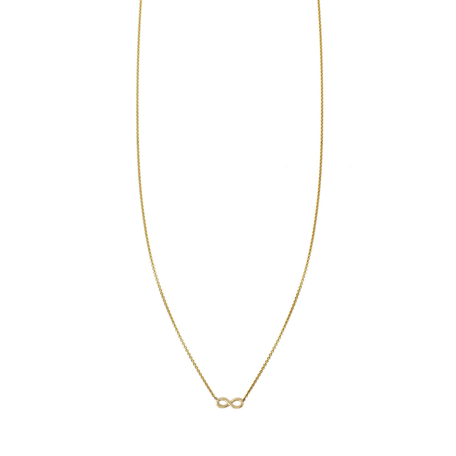 Miniature gold infinity charm pendant necklace
