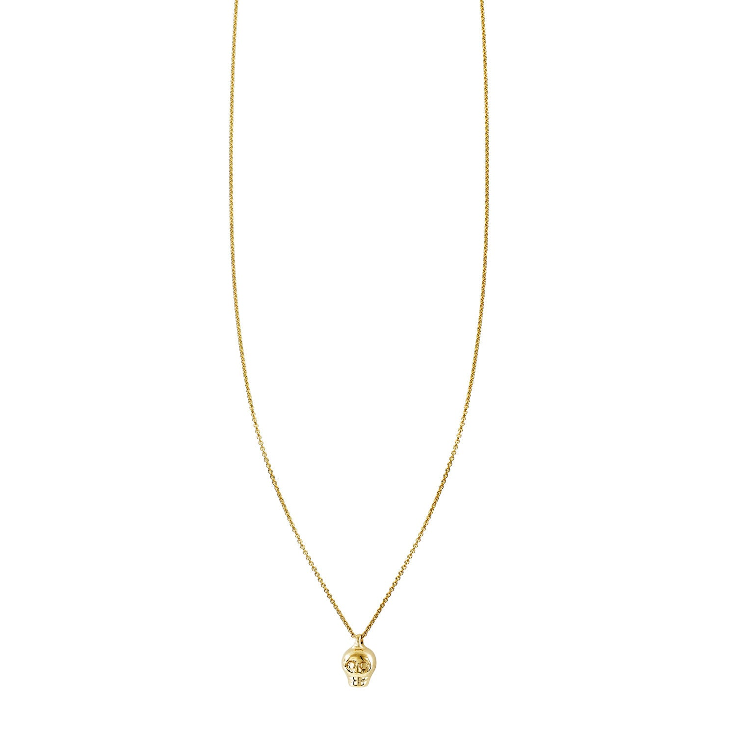 Tiny Skull Charm On A Gold Necklace