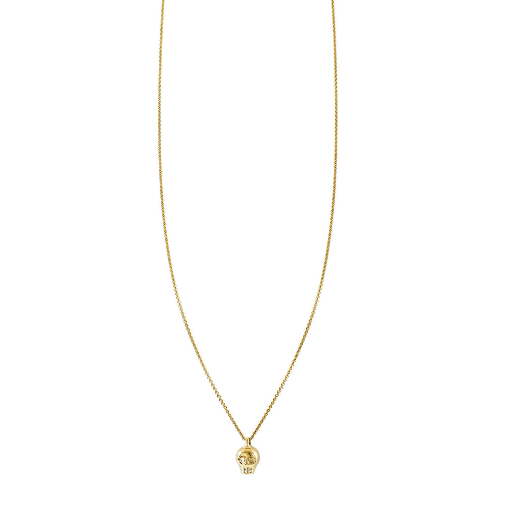Tiny Skull Charm On A Gold Necklace - Phoenix Roze