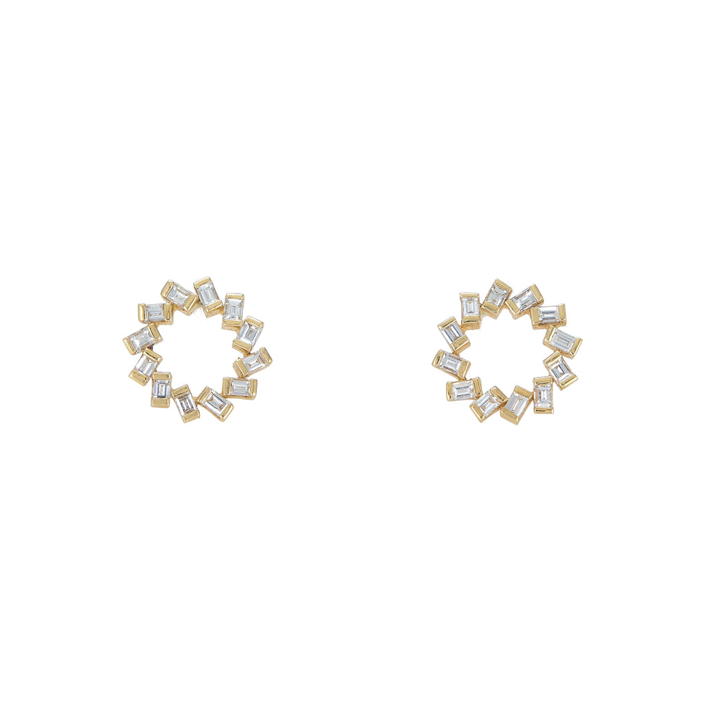 Baguette Circle Stud Earrings
