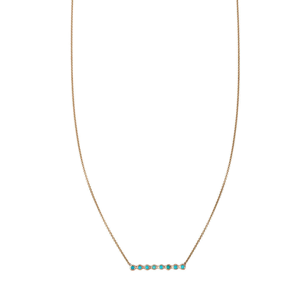 Bezel Set Turquoise Bar Necklace