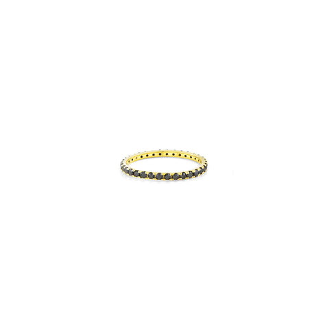 Large black diamond and gold stackable eternity band ring