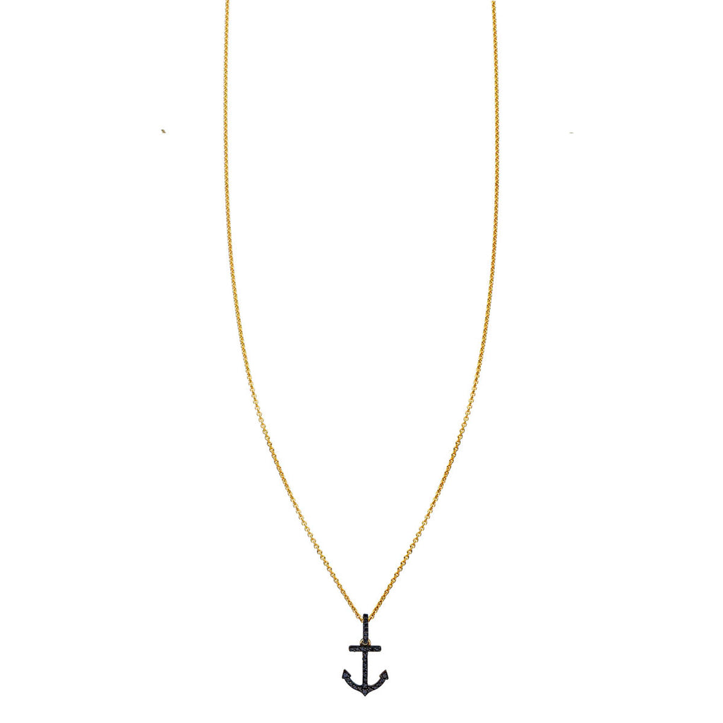 Image of Black Diamond Anchor Necklace