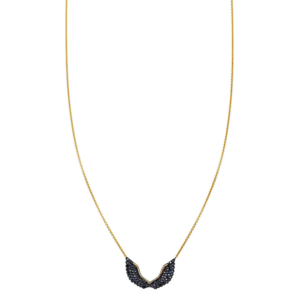 Image of Black Diamond Angel Wing Necklace