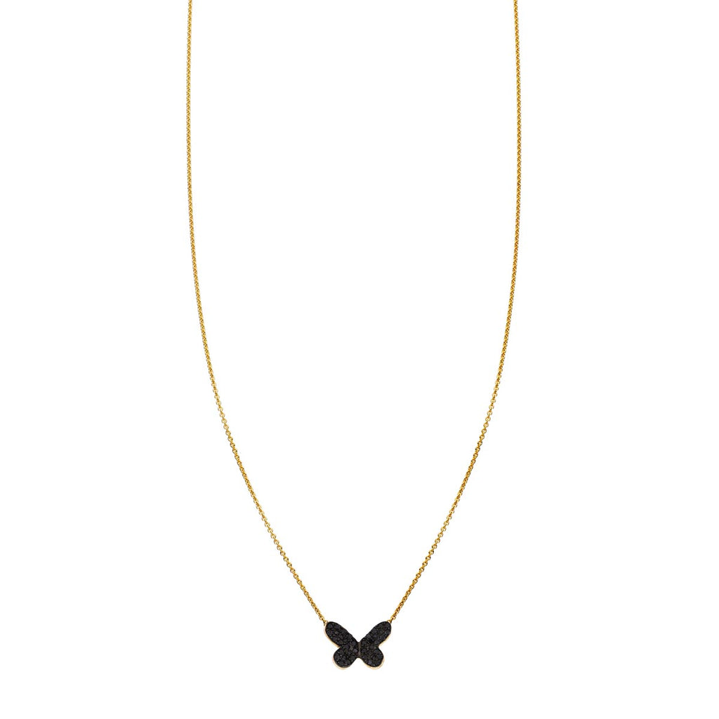 Image of a Black Diamond Butterfly Necklace