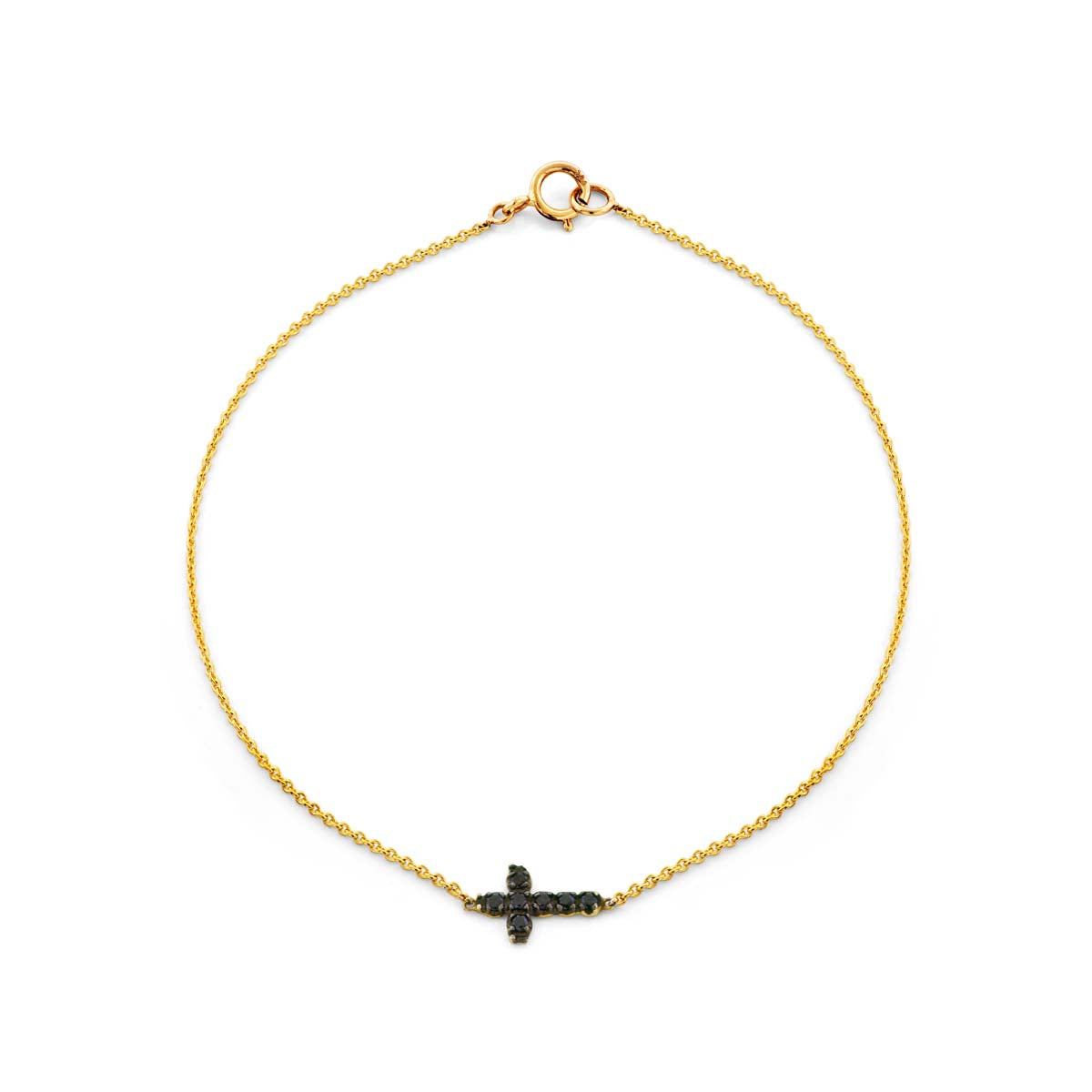 Image of a black diamond cross bracelet.