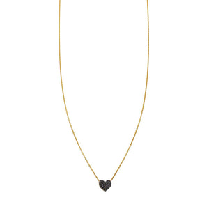 Image of a Black Diamond Folded Heart Necklace