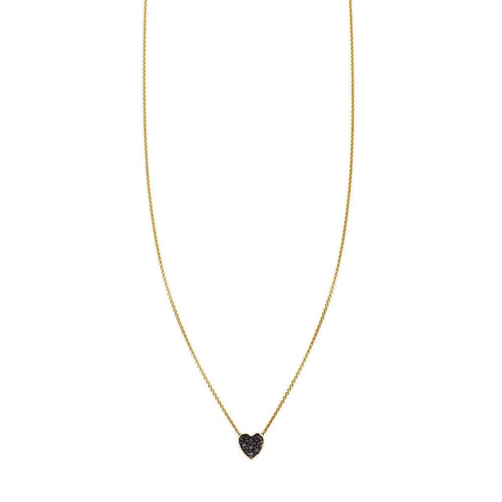 Image of a Black Diamond Gold Heart Necklace