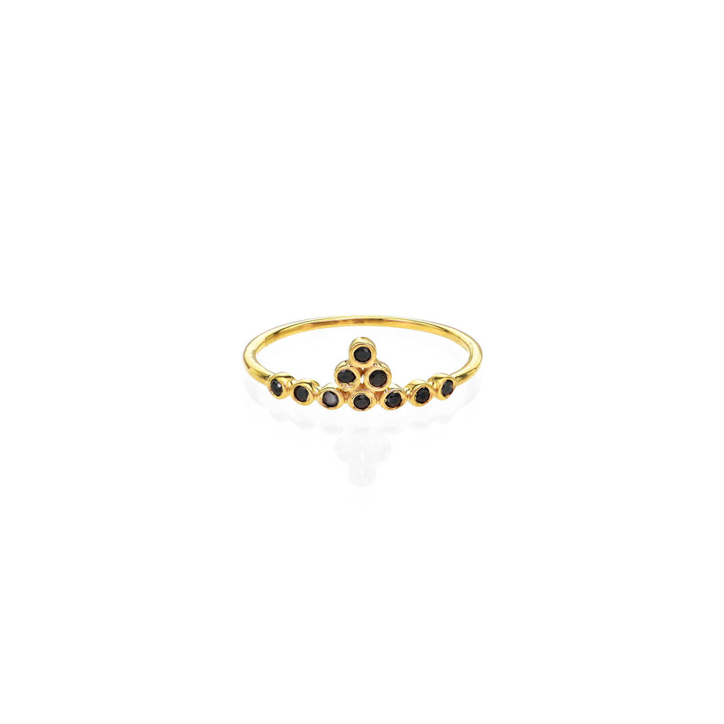 Image of Black Diamond & Gold Tiara Ring