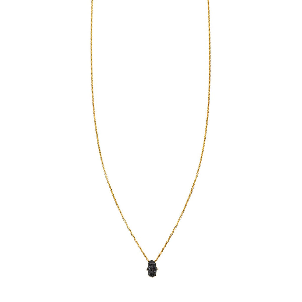 Image of a Black Diamond Hamsa Hand Necklace