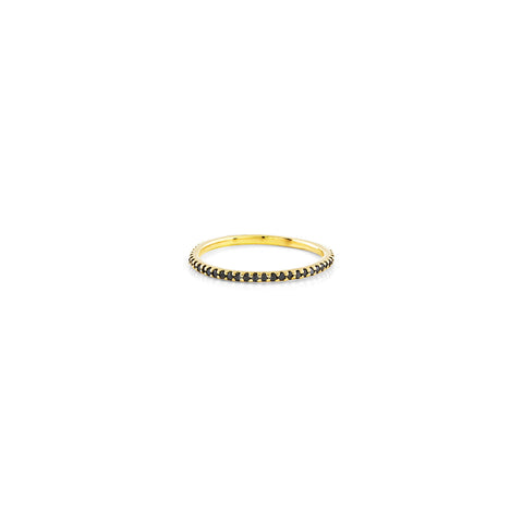 Small black diamond and gold stackable eternity band ring