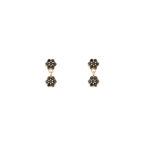 Black Pavé Diamond Double Flower Earring