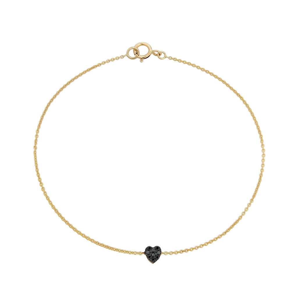 Black Diamond Tiny Heart Bracelet