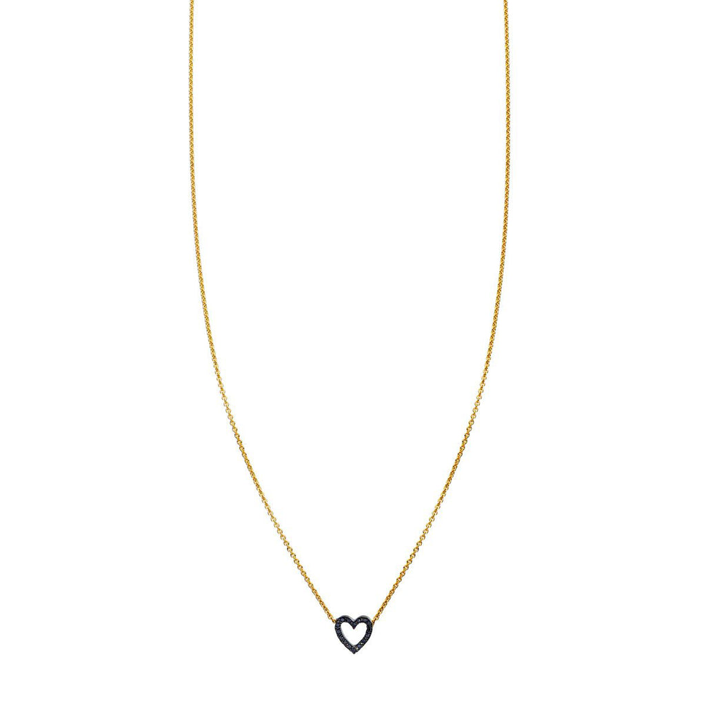 Image of Black Diamond Tiny Heart Outline Necklace