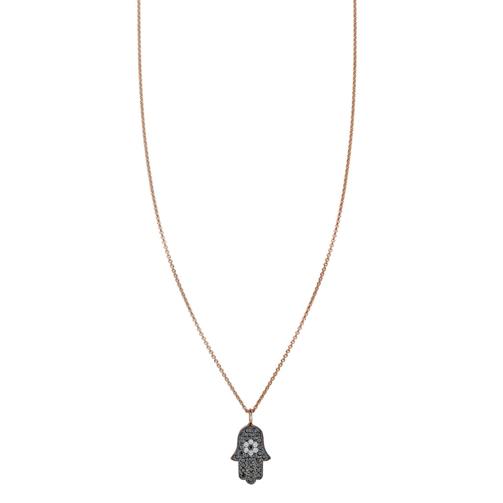 Black & White Diamond Evil Eye Hamsa Necklace