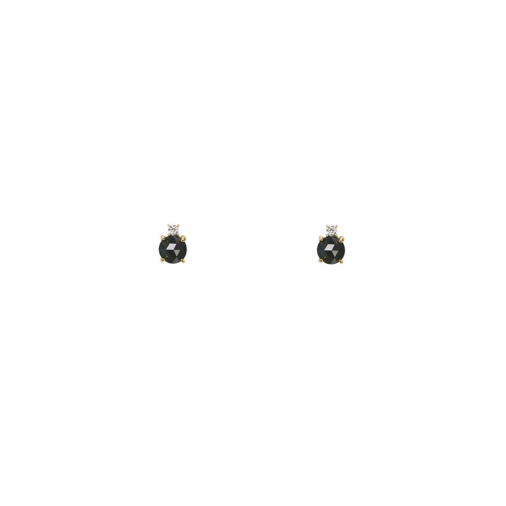 Black & White Diamond & Gold Stud Earrings