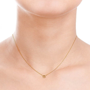 Image of Cancer Gold Zodiac Necklace on Woman's Neck