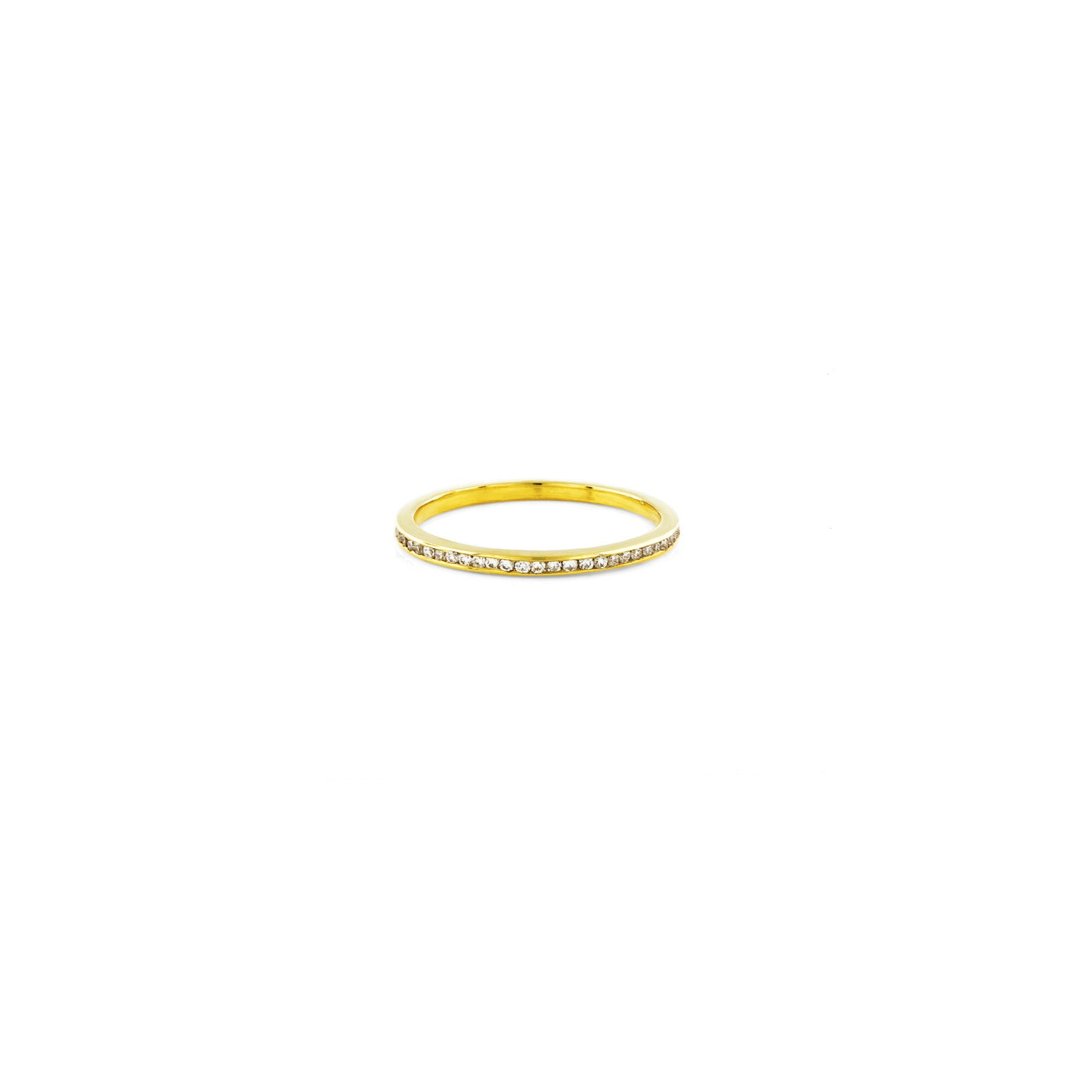 White diamond and gold channel band ring