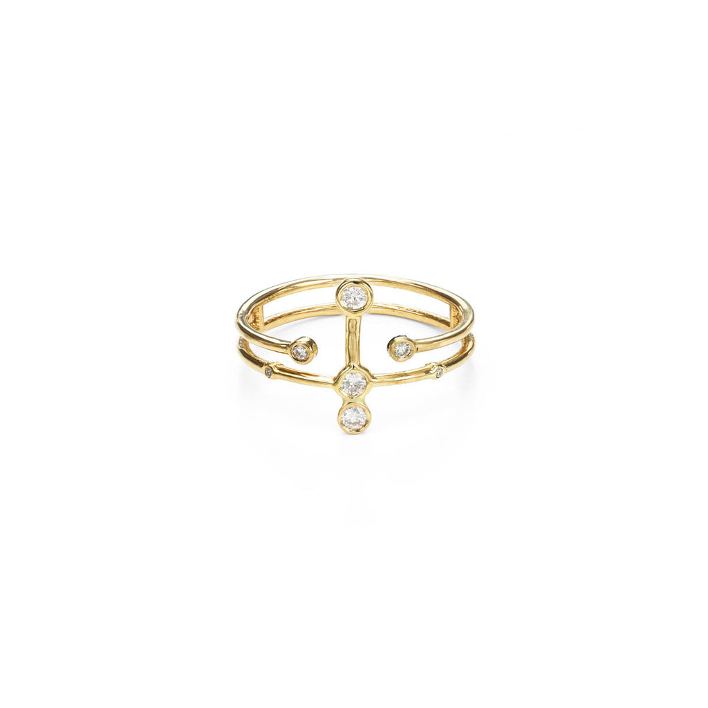 Diamond & Gold Constellation Halo Ring