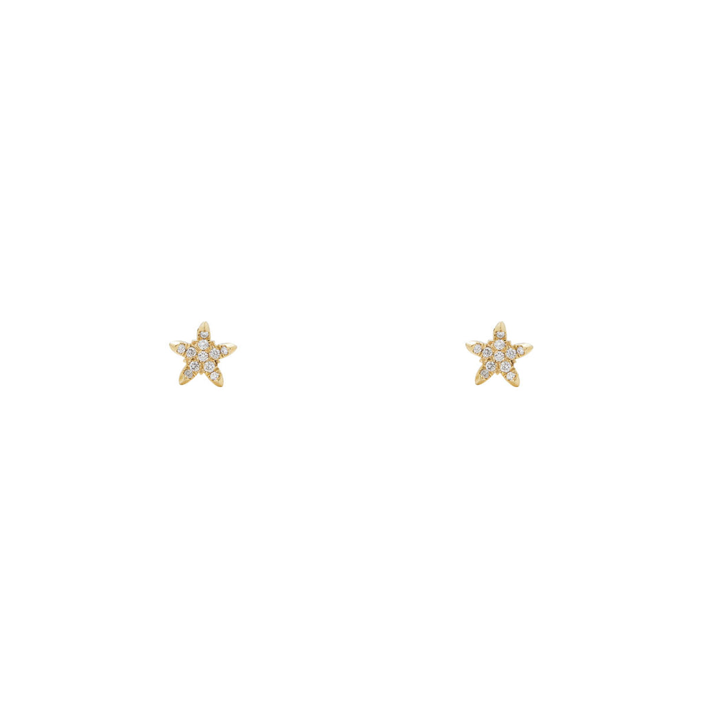 Image of Curved Diamond Star Earrings