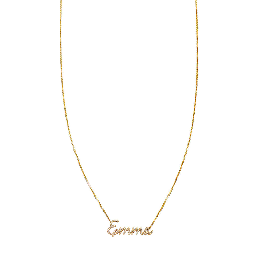 "Image of Diamond ""Emma"" Baby Script Charm Necklace"