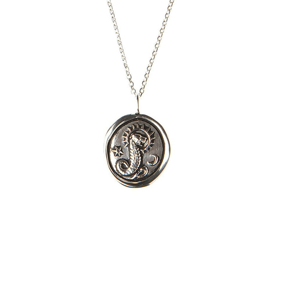 Silver wax seal snake with lion head pendant necklace