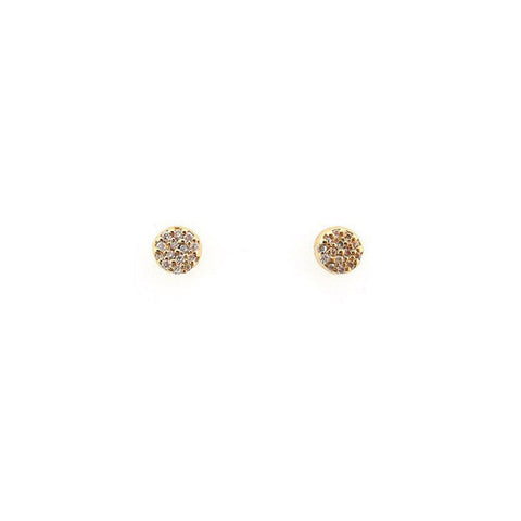 Pave' diamond circle disc stud earrings